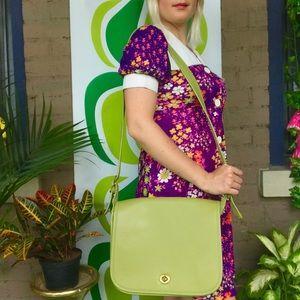 Vintage 80s green leather crossbody messenger bag